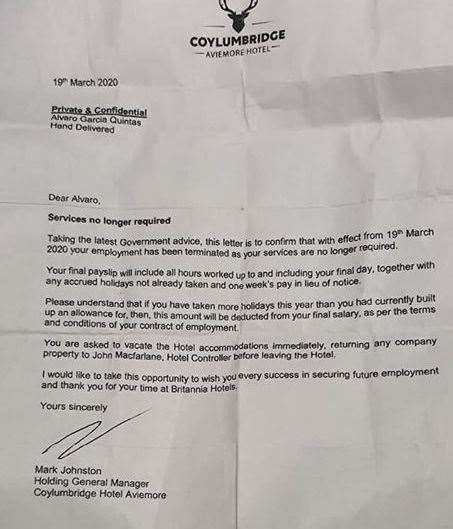 The letter sent to staff.