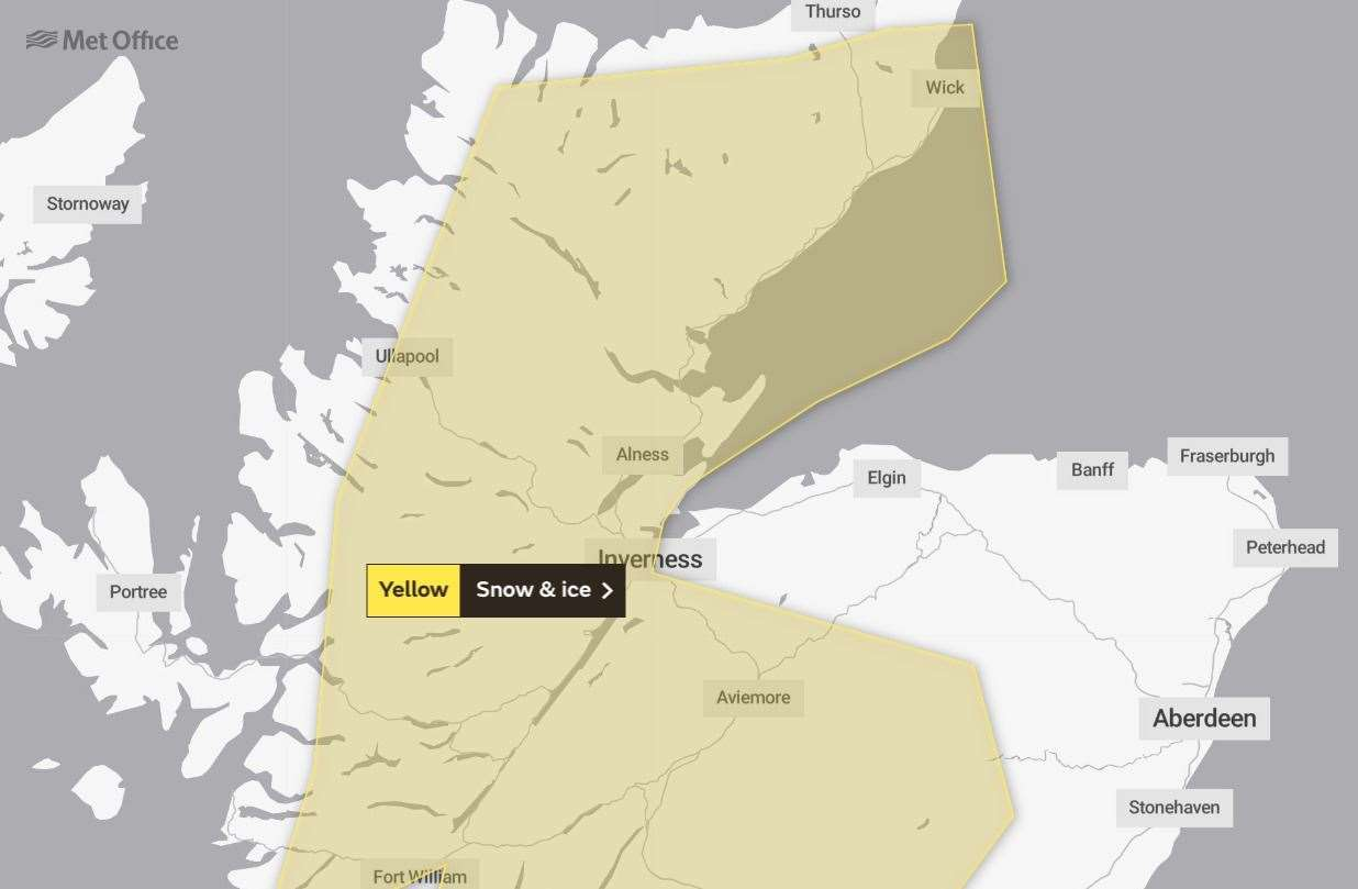 The weather warning issued by the Met Office lasts from Wednesday evening until Thursday morning.