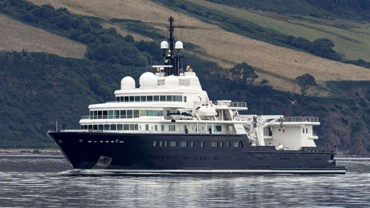 The super yacht, Le Grand Bleu, which belongs to oil billionaire Eugene Schvidler, in the Moray Firth. Picture supplied by WDC/charliephillips.