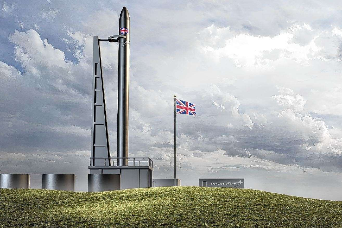 An artist's impression of the new spaceport to be based on the A'Mhoine Peninsula in Sutherland.