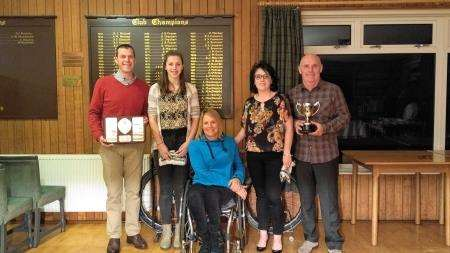 Paralympian Karen Darke (centre) with prizewinners, from left, Tim Featherstone, Catriona Scott, Kirsteen Cockburn and Alan Cockburn.