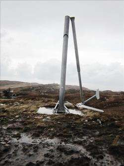 The turbine's mast snapped in half, sending the housing and blades crashing to the ground.