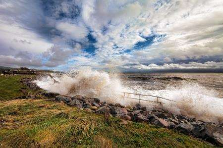 Waves crash against the shoreline near to the Golf Links Hotel in Golspie. Photo: Gary Sutherland.