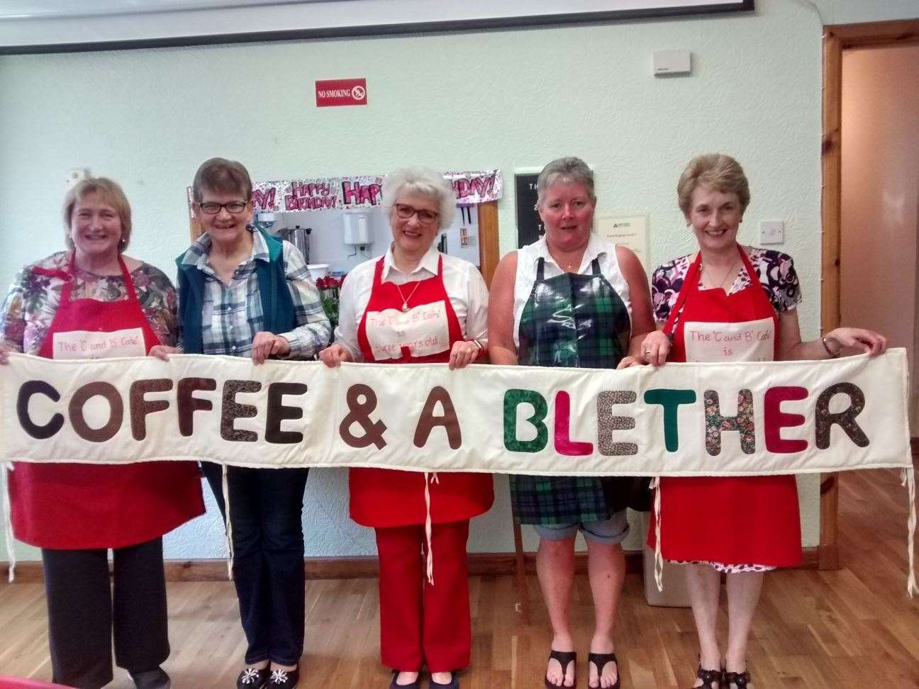 Voluteers, from left, Maureen Young, Carol Grant, Madeleine Seaby and Maggie Jamieson and Monica MacLean. Another volunteer, Diane Hull, was behind the camera.