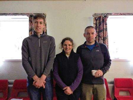 Hill climb winners Alec Marwick, Fiona Paton and Andrew Macleod.