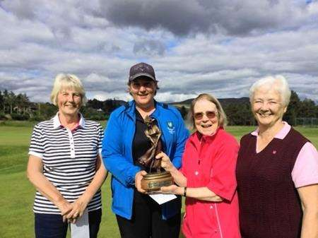 Local prizewinners, from left, Mo Wemyss, Caroline Munro, Jeani Hunter and Marjory Matheson.