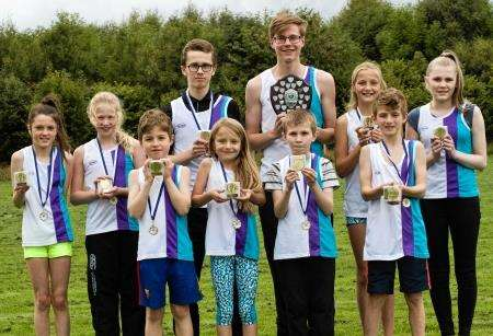Some of the East Sutherland Athletics Club medallists at Golspie. Photo: Rebecca Nankivell.