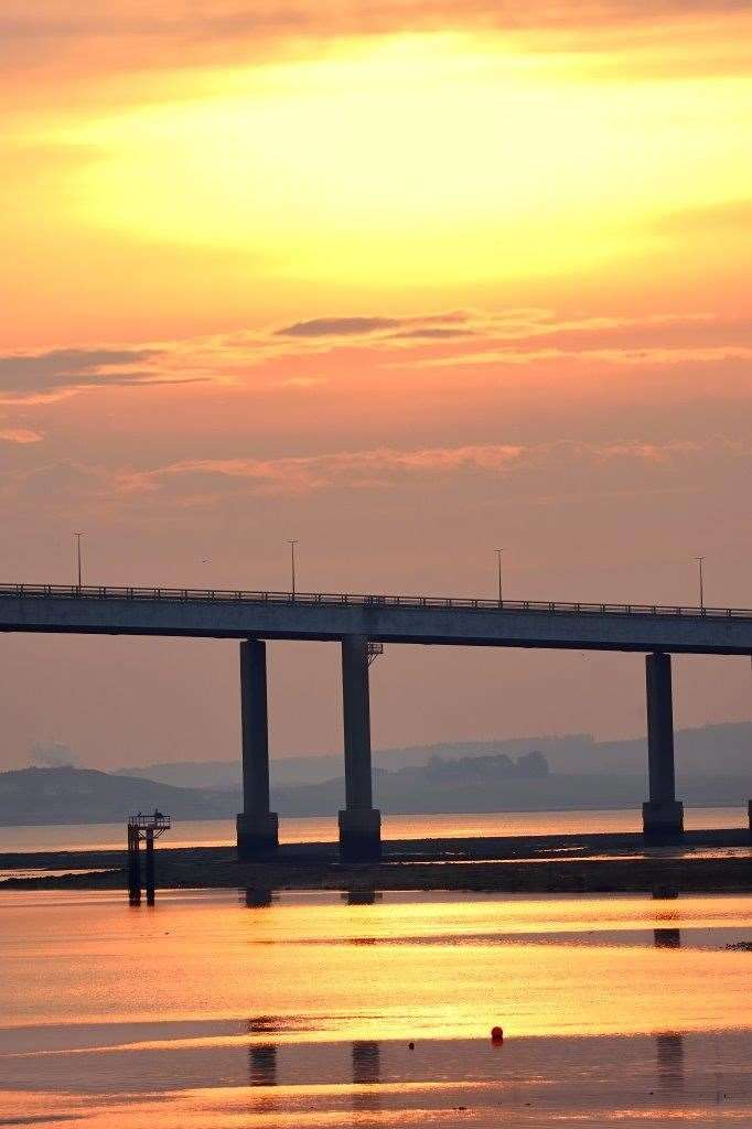 Sunrise over the Kessock Bridge.