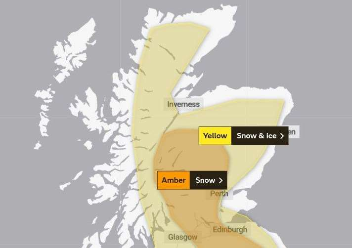 The areas covered by the yellow and amber warnings for snow. Picture: Met Office.