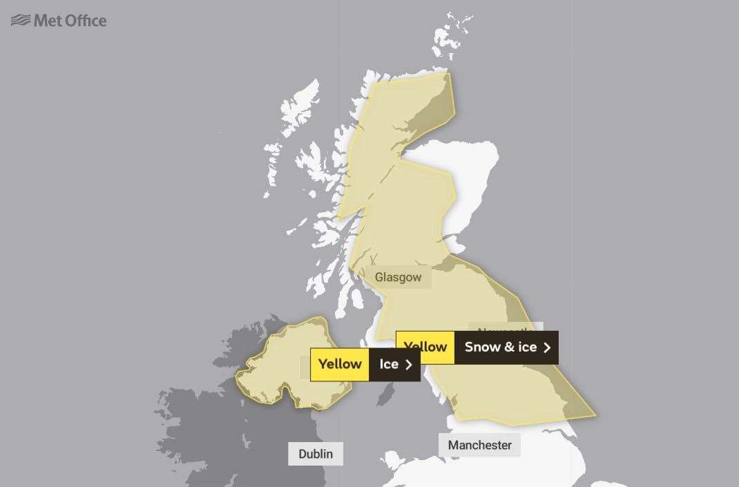 The wider UK weather warning issued by the Met Office.